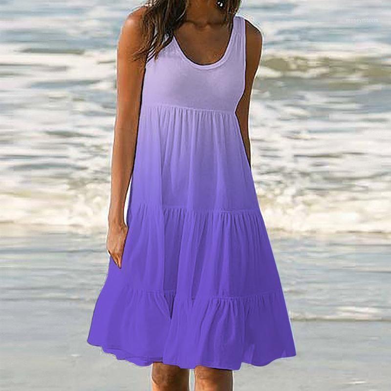 Estate senza maniche viola gradiente beach dress womens holiday estate stampa stampa senza maniche partito in spiaggia collo abito torta 20201