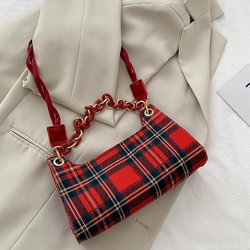 Leather Fashion Plaid Handbag PU portatili donne acrilico Catena ascellari Borse a tracolla casuale femminile Via Totes Viaggi