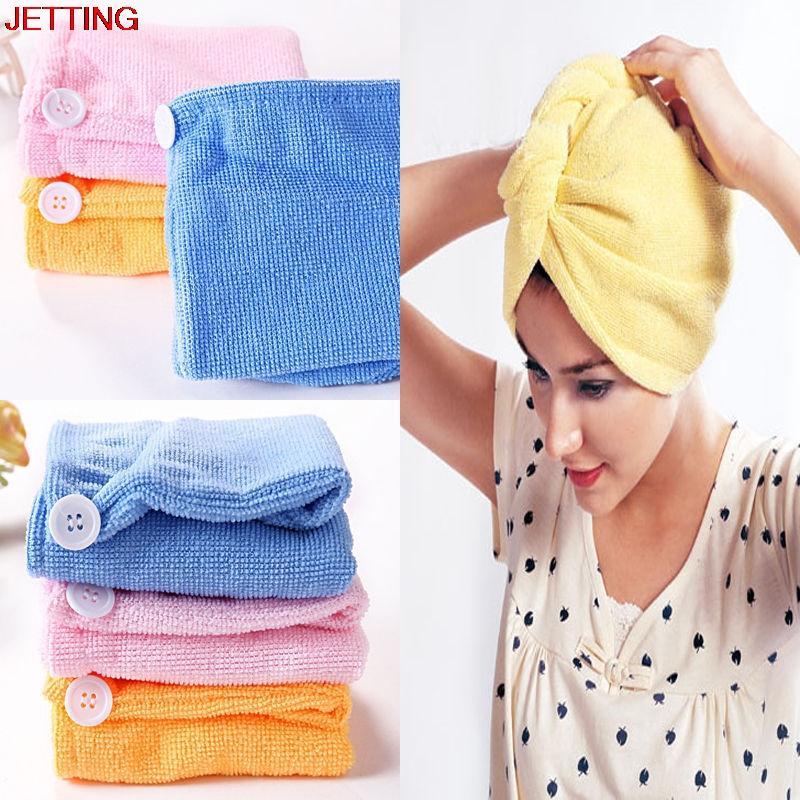Turbante secado de los cabellos gorros de ducha toalla de microfibra de secado rápido absorbente de baño Albornoz Sombrero colores multi abrigos de pelo para las mujeres