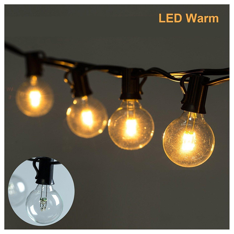 25Ft Clear Globe Bulb G40 25 led String Light Set with 25 Globe G40 Bulbs Included Patio Lights Patio Lights G40 Bulb String Lamp