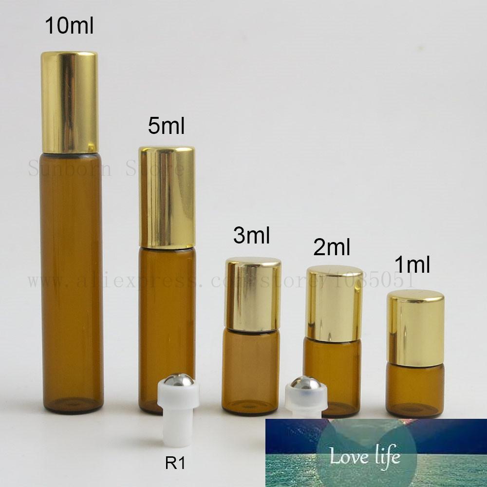 1ML 2ML 3 мл 5 мл 10 мл ролика на роликовых бутылках для эфирных масел. Восстановленная флакон духов с золотыми алюминиевыми крышками 5 шт.
