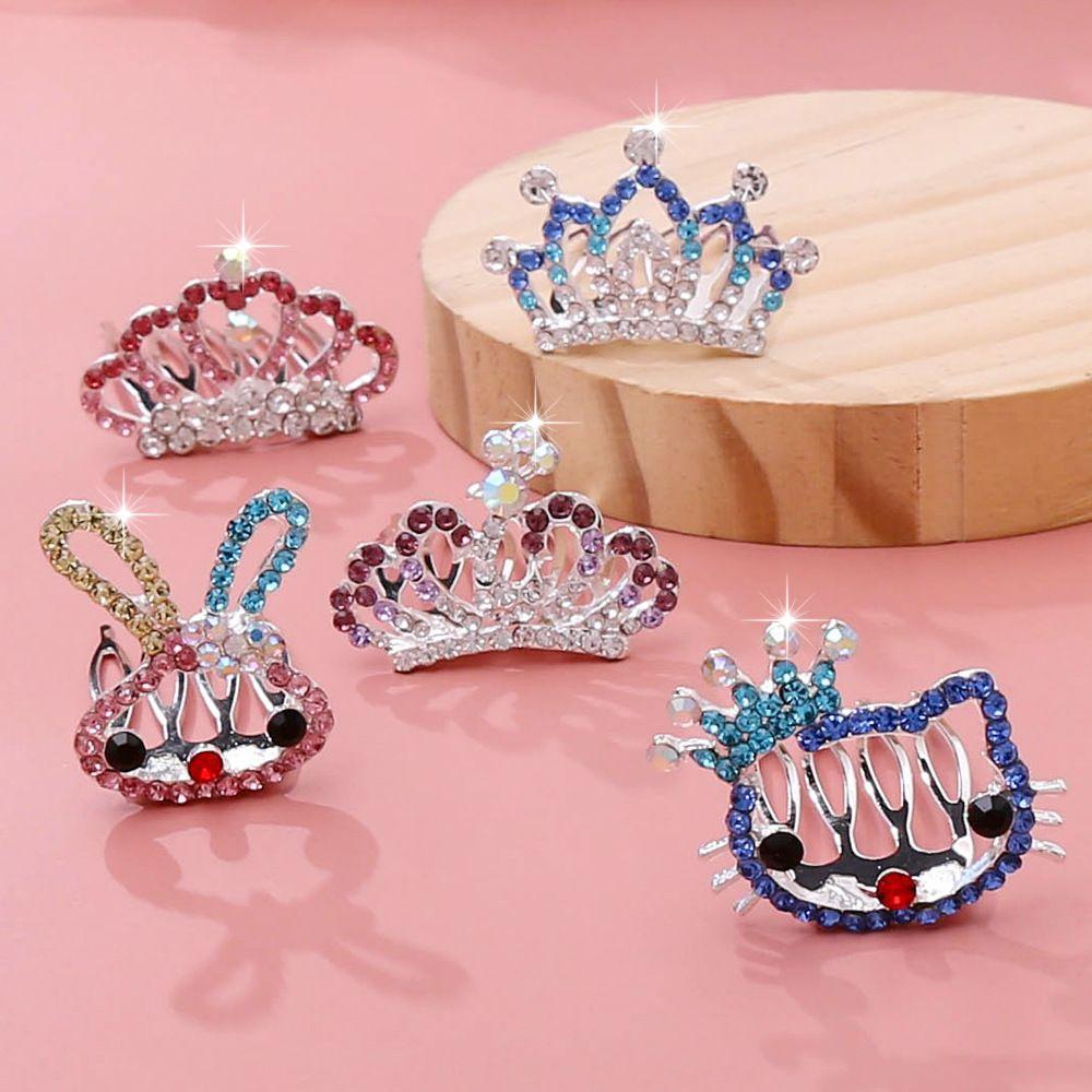 Princesa de los niños coreanos Peine de pelo con incrustaciones con incrustaciones con tocado de diamante Peinado de peluquero nupcial Point Soporte Accesorios para el cabello Peine