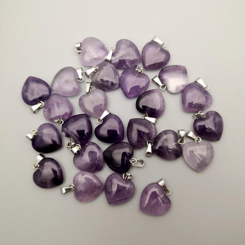 Amethysts natural stone heart pendant Necklace for jewelry making 15MM Charm Fashion Accessories 36PCS Q1113