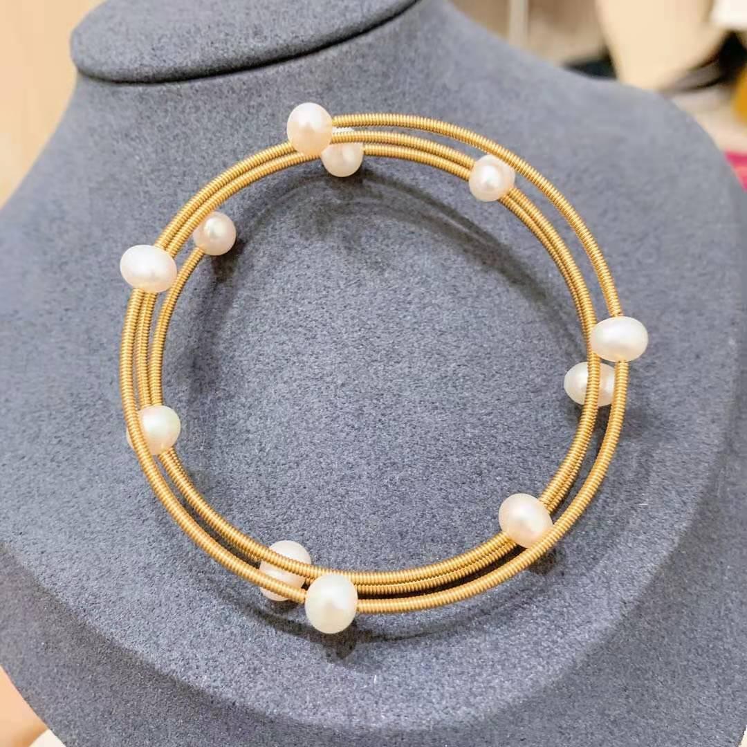 Aiyanishi14k feitos à mão de ouro feitos brancos de água doce arame de pérola pulseira ajustável pulseira de estilo vintage delicada