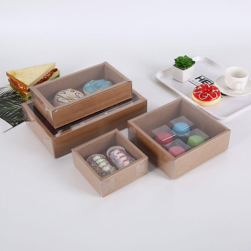 Cadeau transparent biscuit biscuit boîte cadeau rétro kraft papier couvercle de cuisson de cuisson boîtes cadeaux boîte personnalisée vtky2237