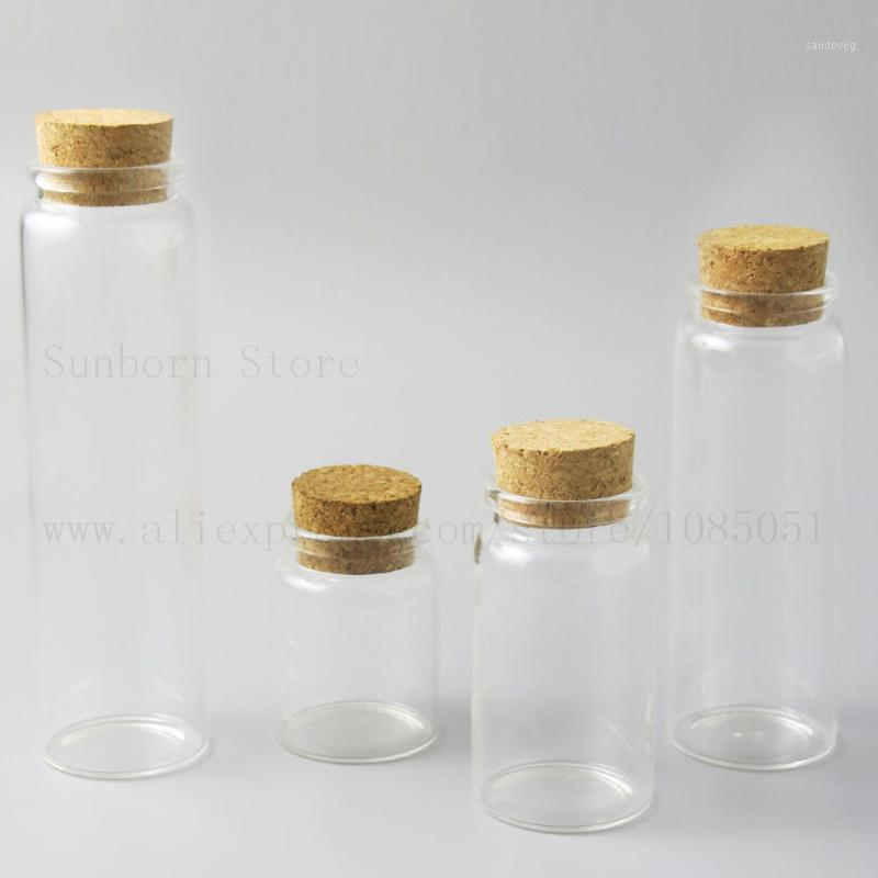 4oz 10oz 20oz Big Empty Transparent Bottle Jar With Cork Stopper Clear Glass Bottle Container for Household Storage use 5pcs1