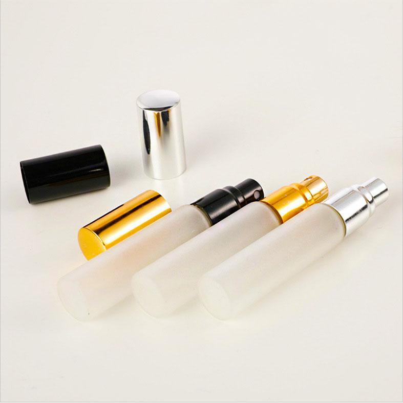 10ml en verre givré huile essentielle bouteille de parfum Pompe Bouteille Pulvérisateur avec Or / Argent / Noir Caps parfum bouteille secondaire pour Voyage PPF2415