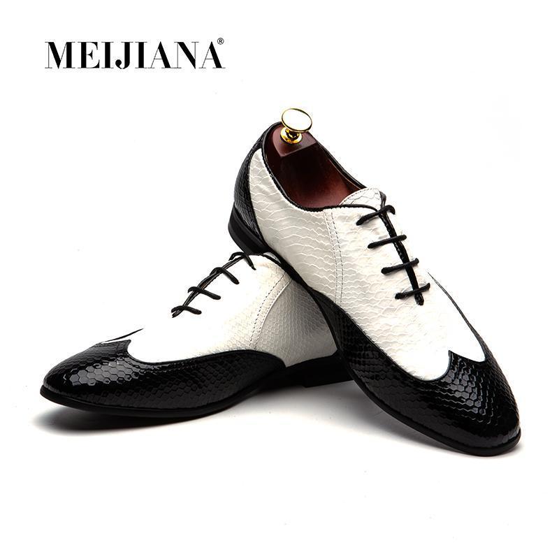 Обувь платье Meijiana Мода Мужская Формальная Кожа Удобные Черные ЛТТ