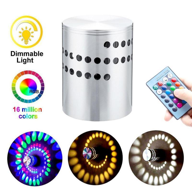 RGB Spiral Hole LED Luz de pared Lámpara de pared con control remoto Colorido Wandlamp para la barra de fiesta Lobby KTV Decoración del hogar