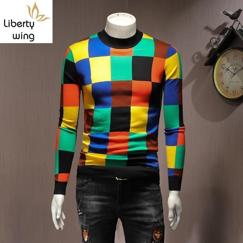 Moda Rahat Uzun Kollu Erkek Ekose Karışık Renkler Kazak Sonbahar O-Boyun Slim Fit Erkek Örgü Kazaklar Artı Boyutu Streetwear1