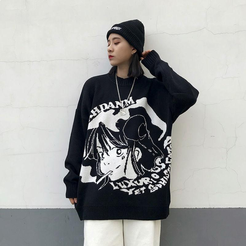 2021 New Harajuku Knitted Women's Winter Clothes Large Sleeves Gothic Japanese Fashion Kawaii Streetwear 4hjk