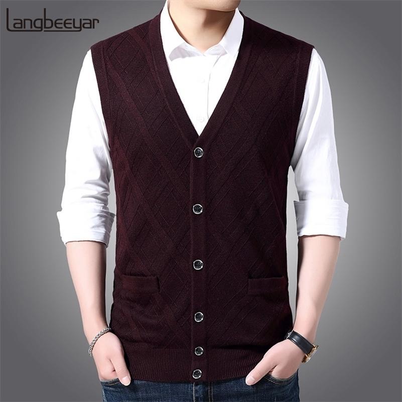 6% шерстяная мода модный свитер без рукавов для мужской кардиган V шеи тонкий подходящий перемычек вязаный крючок теплый осенний жилет повседневная одежда мужчина 201201