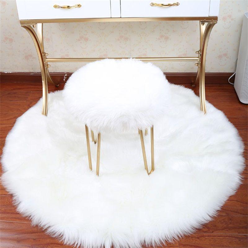 Puro colore circolare tappeto imitazione lana soggiorno camera da letto peluche tappeto tappeto appeso cestino tenda girevole cuscino cuscino calda 14 99oy J2
