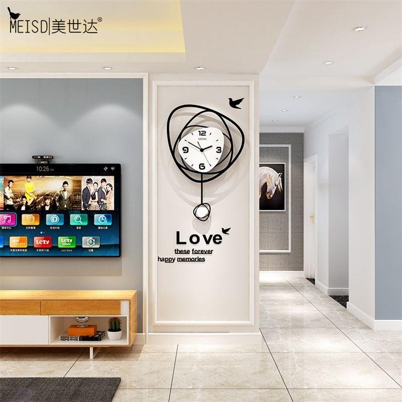 Horloge murale MEISD NORDIQUE Creative Moderne Design Pendule Montre Accueil Décor DIY Sticker Chambre Horloge Mute Salon Livraison Gratuite LJ201211