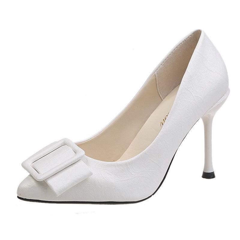 La venta caliente-blanco Mujeres de moda cuero de la PU de deslizamiento del resorte en el estilete de los zapatos de tacón para Office partido de la señora Brown cómodo Bombas Zapatos Dama G6154
