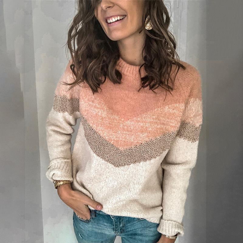 2020 Automne et Hiver Nouveau Contraste Femme Couleur Patchwork O-cou à manches longues Pull Casual pull en tricot