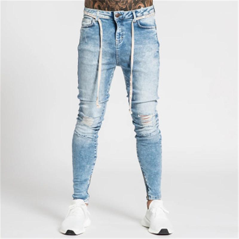 Schlanke Elastizität Biker-Jeans Sommer Folds Loch Hip Hop-Straße Buttons Hosen Kleidung Mann Reißverschluss Waschen Jeans Designer