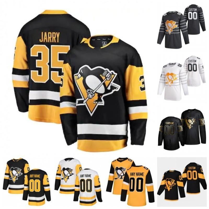 Costumbre Pittsburgh Penguins Tristán Jarry Evgeni Malkin Patrick Marleau Brian Dumoulin Adam Johnson Andrew Agozzino 2020 Jersey del hockey de la puntada