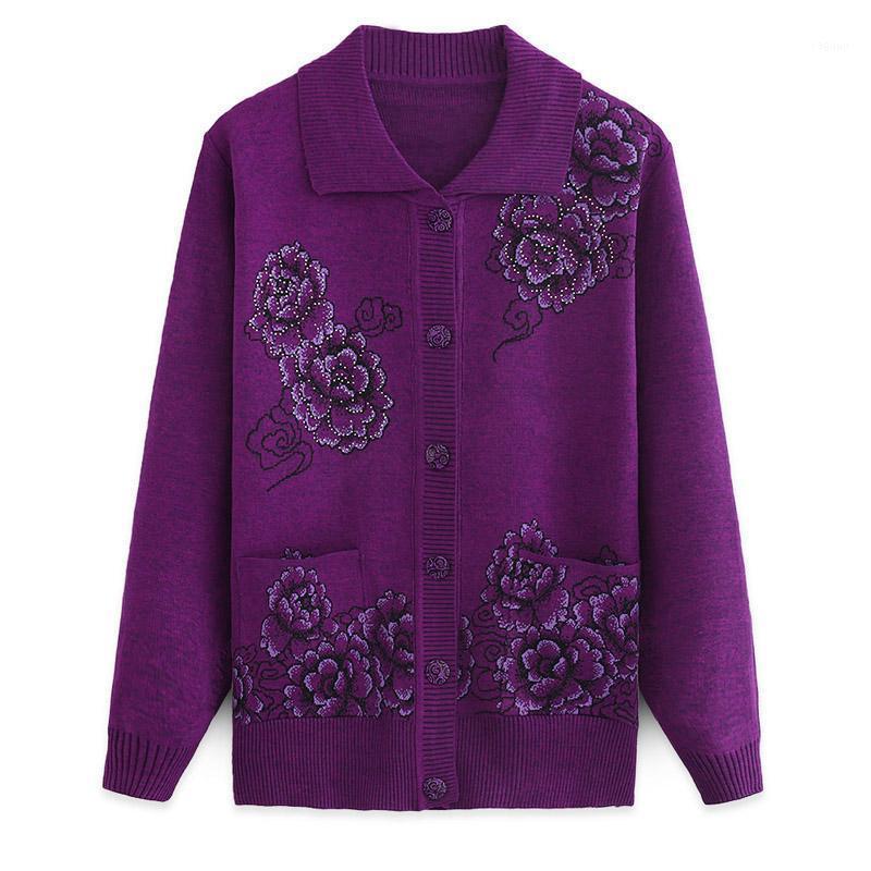 2019 Cardigan pour femmes Pull tricoté à manches longues manches décontractées manteau de fleur femelle avec boutons Pull Cardigans R5221