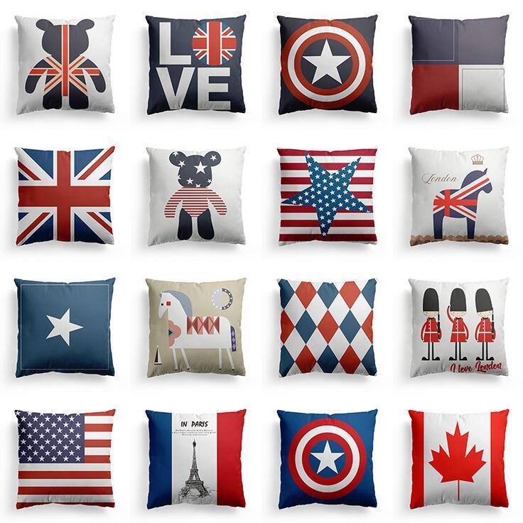 البريطانيون / الولايات خمر نمط وسادة غطاء وسادة الزخرفية غطاء رمي وسادة حالة ديكور المنزل أريكة السرير ديكور عيد الميلاد ل المنزل وسادة XR3