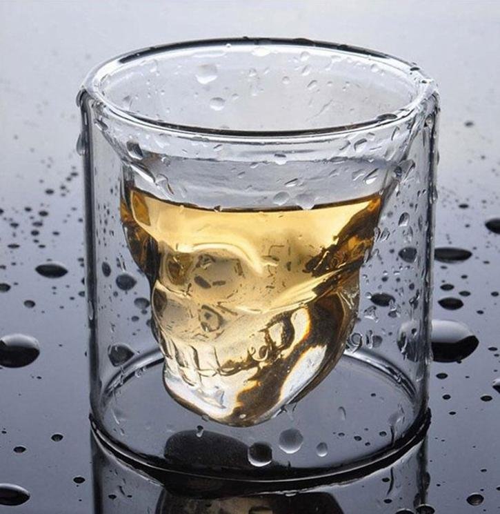 Creative Skull Glass Red Wine Whiskey Wine Cup Halloween Decoration Party Transparent Drinkware Drinking Glasses 25ML EED4171
