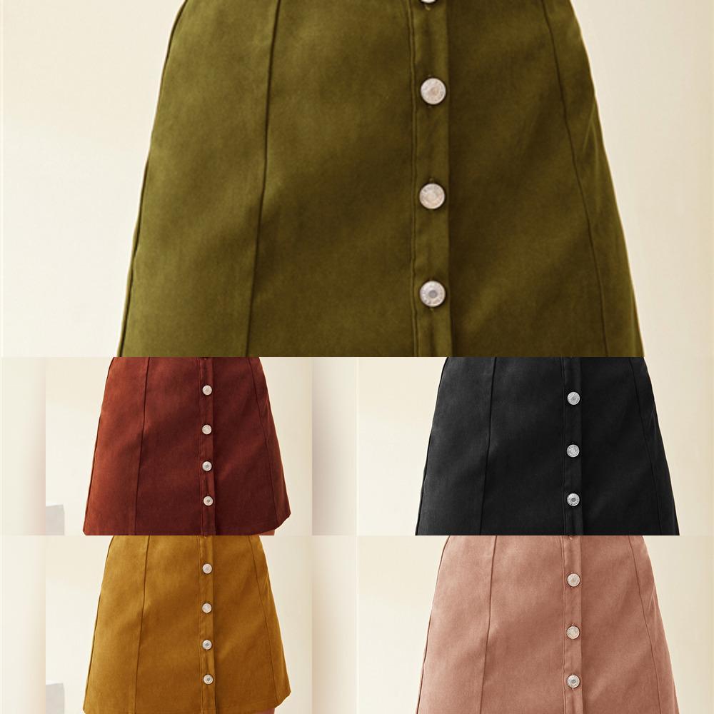 Shein pas kahverengi düğme ön katı mini etekler kadın dipleri sonbahar bayanlar yüksek bel bir çizgi rahat etek w1218