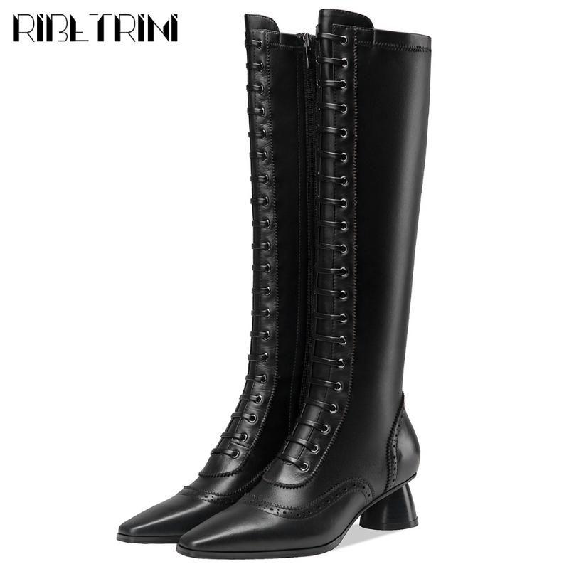 Salto RIBETRINI Marca Novo Design Chunky Chic Couro Brogue Joelho Bota de Equitação Cow Pele elegante Shoes Botas