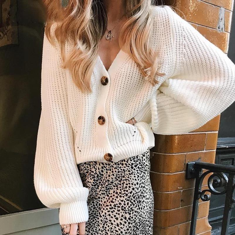 Frauen Weiße Strickjacke Pullover Massivfarbe Einzigen Breasted V-Ausschnitt Gestrickte Strickjacke 2021 Winter Damen Langarm koreanische Strickwaren