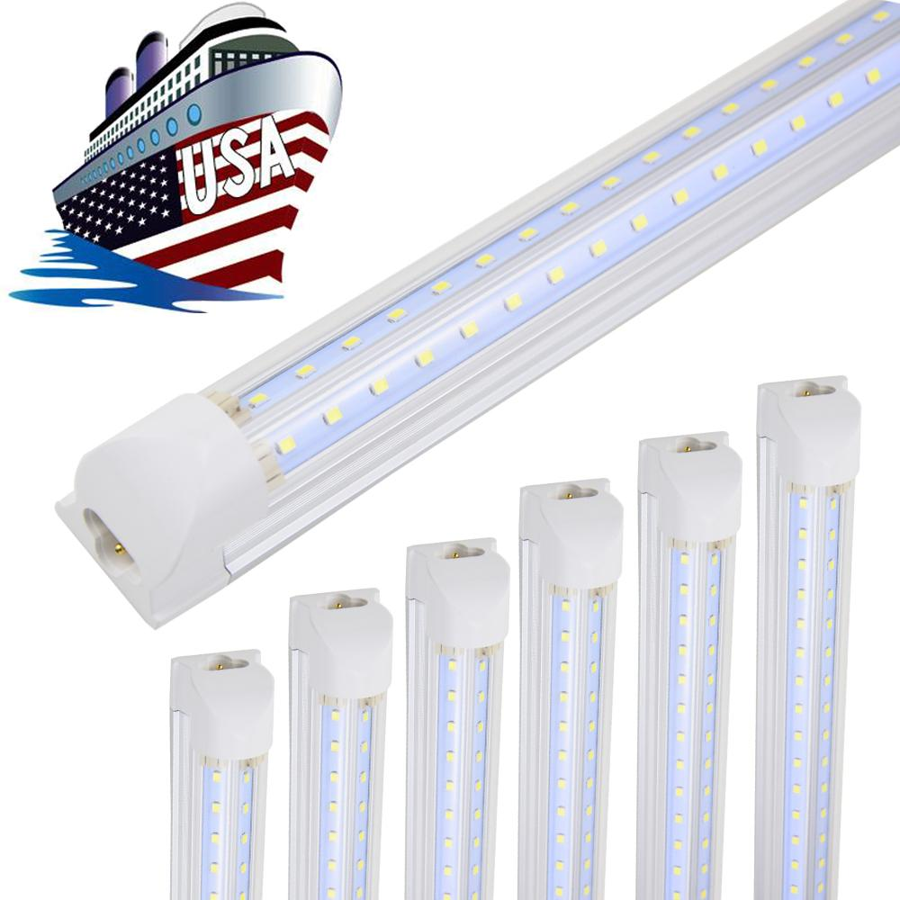 8ft LED ضوء متجر تركيبات، شكل V شكل T8 المتكاملة 8 أضواء أنبوب القدم، 6500K الباردة الأبيض، عالية الناتج أنابيب الضوء، الوجهين الوجهين للمبرد، المرآب، المستودع، غطاء واضح