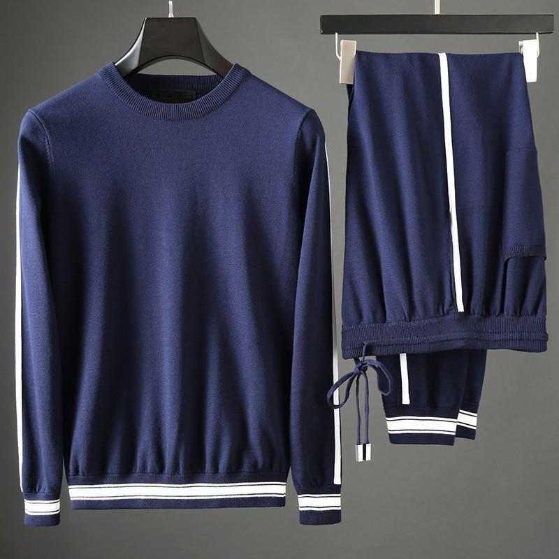 Conjuntos Minglu Mens (camisola + calça) Contraste Luxo circular Cor Casual Collar Suits Desporto de moda masculina Slim Fit Man Pants 3XL