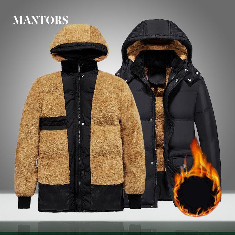 Winter New Jacket Men Warm Thicken Hooded Parka Coats Mens Zipper Cotton-Padded Jackets Waterproof Casual Fur Down Overcoats 5XL