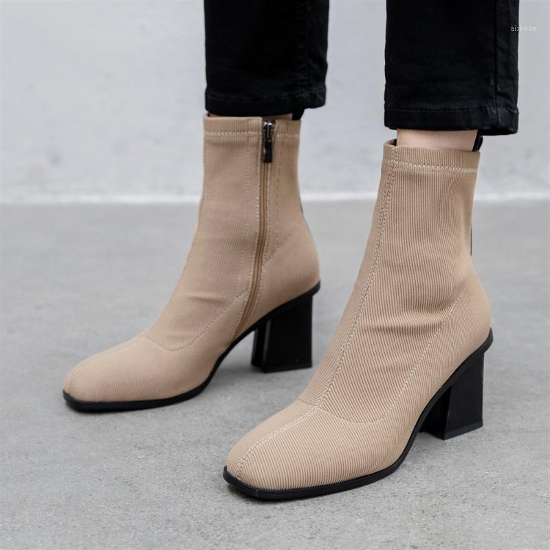 Stivali Plus Size 34-43 Donne Piazza Tone Elastico Caviglia Elastico Tacco spesso tacco alto Scarpe Donna Femminile Socks 2021 Fashion1