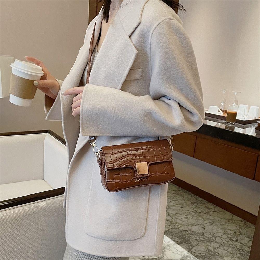 Сплошной цвет плеча сцепление простой модный мешок PU кожаные сумки сумки сумки сумки мессенджер аллигатор старинные мини-oobiw
