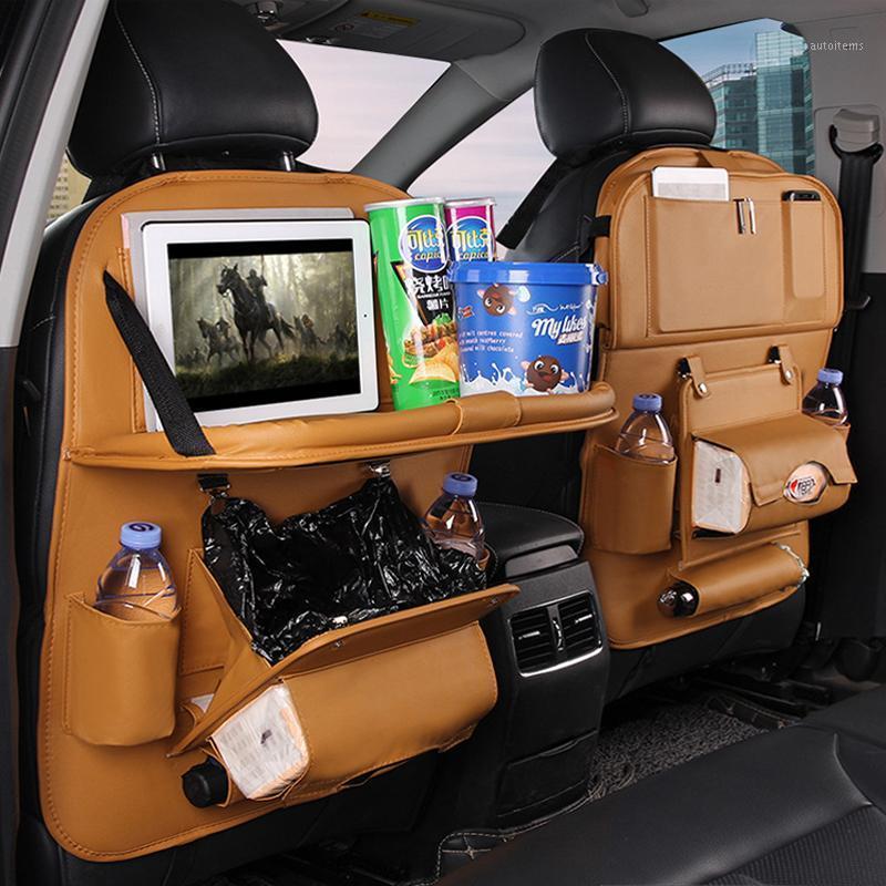 Saco de armazenamento de couro PU organizador de assento de carro com lixo lata de mesa dobrável mesa de carro assento de armazenamento acessórios1
