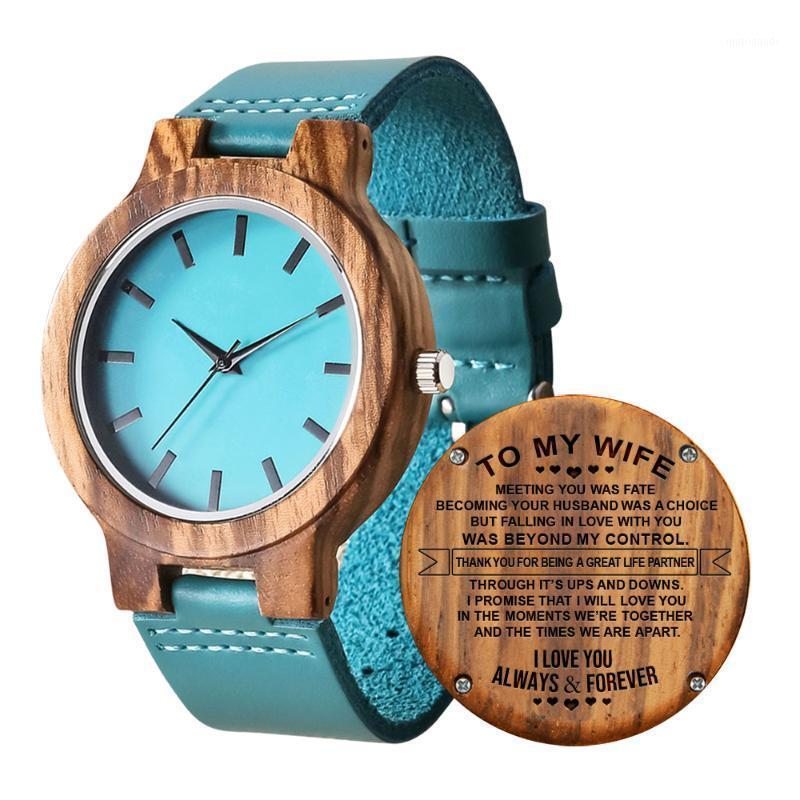 Wristwatches Engraved Blue Wood Watch Quartz Wristwatch Fashion Leather Natural Zebra Wooden Clock Gifts For Daughter Mom Wife1