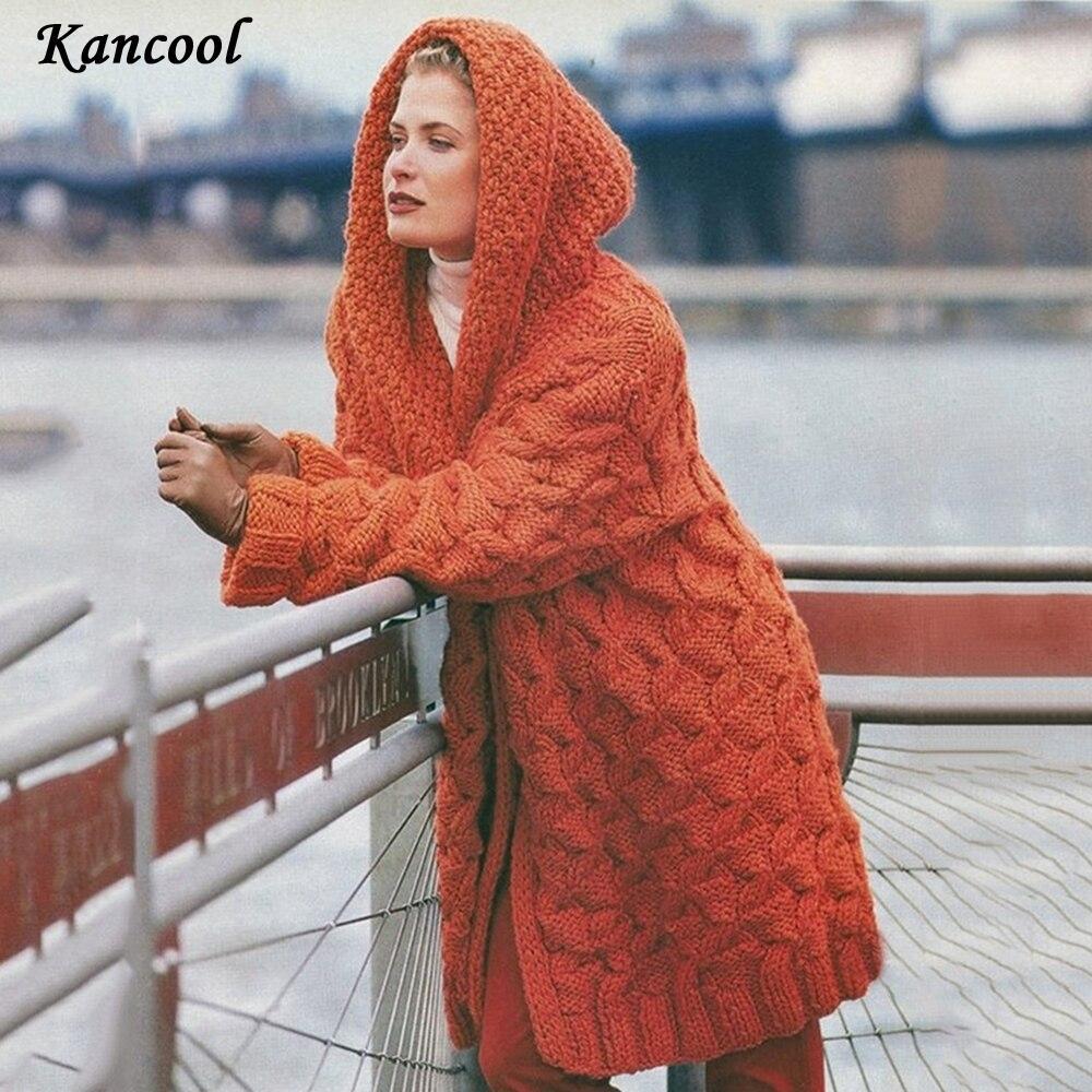 KANCANOOL 2020 Cardigan Feste Kapuzenjacke Frauen Pullover Warme Herbst Winter Weibliche Mantel Lässige Stricksticke Dicke Lange Pullover C1030