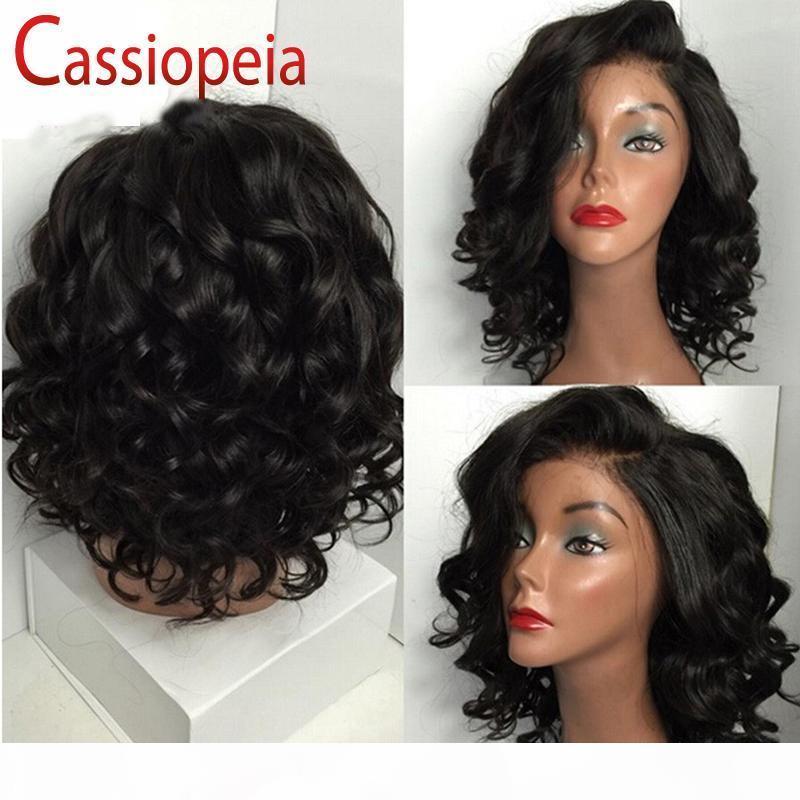 Curto Ondulado Bob parte dianteira do laço do cabelo humano perucas para mulheres negras Glueless Lado Esquerdo completa Lace Wig Virgin Cabelo brasileiro