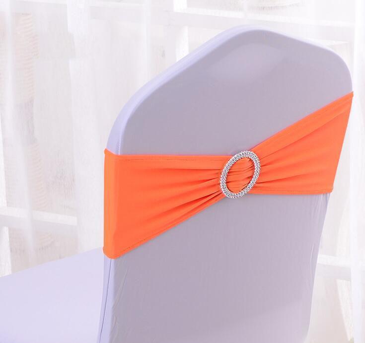 Chaise élastique organza couvre des thaussies Bande Band nœud nœud cravate dos accessoires Bowknot Spandex Chaises Sauvente Buckles Couverture Back Hostel Trim Pi SQCBDIW