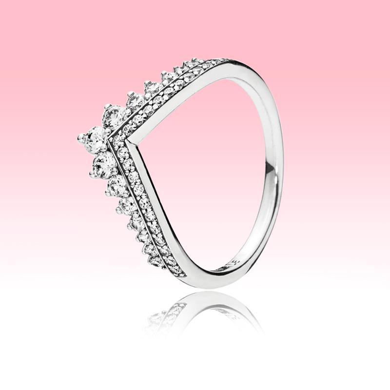 Autentico 925 anello in argento sterling 925 Gioielli estivi per Pandora Princess Wish Anello CZ Diamond Engagement Anelli di creazione con scatola originale