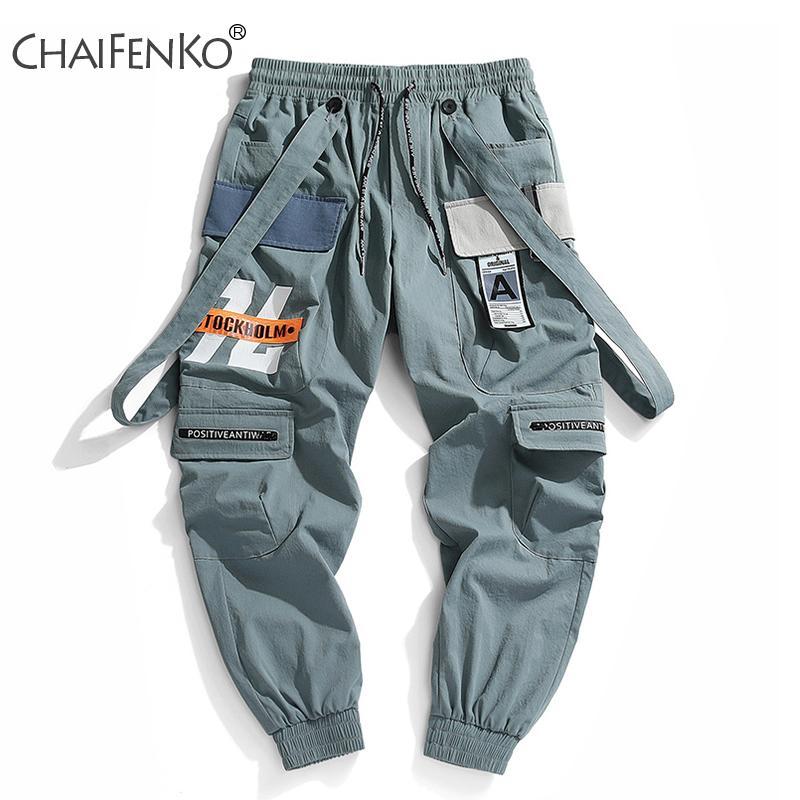CHAIFENKO Yeni Sıcak Jogger Serbest zaman etkinlikleri Pantolon Erkekler Hip Hop Streetwear Işın Ayak Kargo Pantolon Moda Baskı Erkekler Pantolon 201006