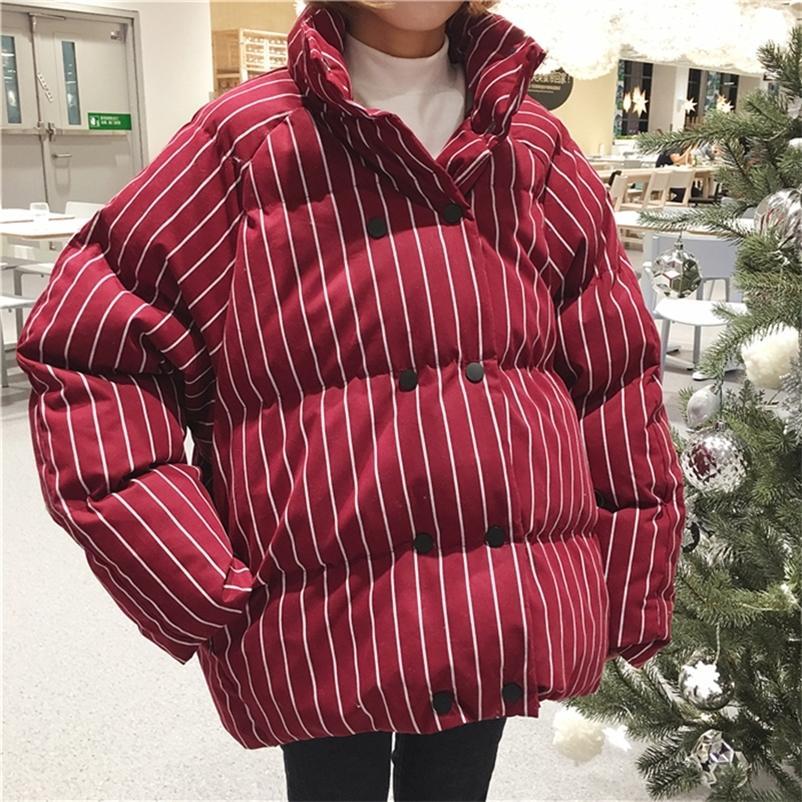Cuello de soporte de invierno de invierno de la mujer a rayas grandes tamaño suelto doble pecho corto algodón abrigo chaquetas hembra super gruesa abrigos 201026