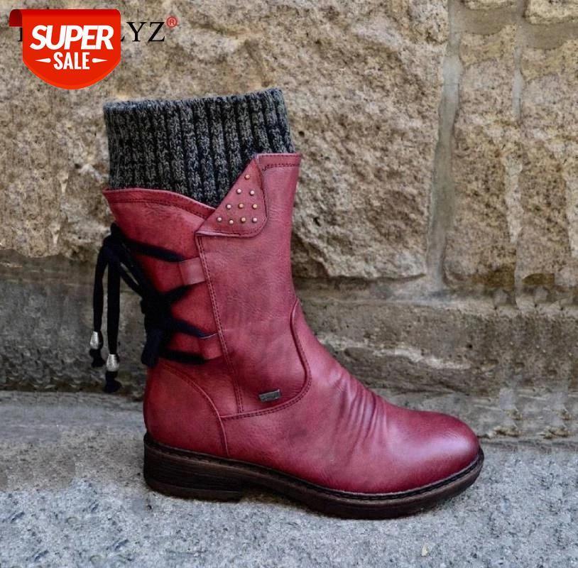 2020 CALIENTE CALIENTE NUEVO OTOÑO EMPUESTOS ZAPATOS DE INVIERNO MUJERES Botas de tacón plano de moda Moda Patchwork botas de mujer Botas cortas # hk0p