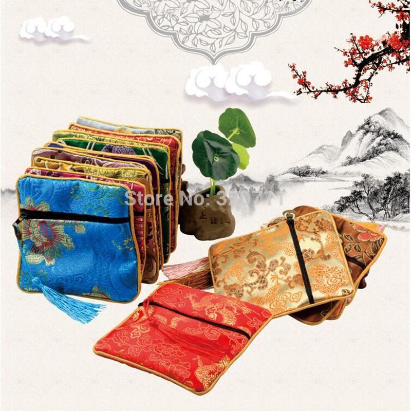 Petit Zipper Coin Pouch soie chinoise Bijoux Bracelet Sac pochette cadeau avec Tassel Voyage Femmes Mini Sac