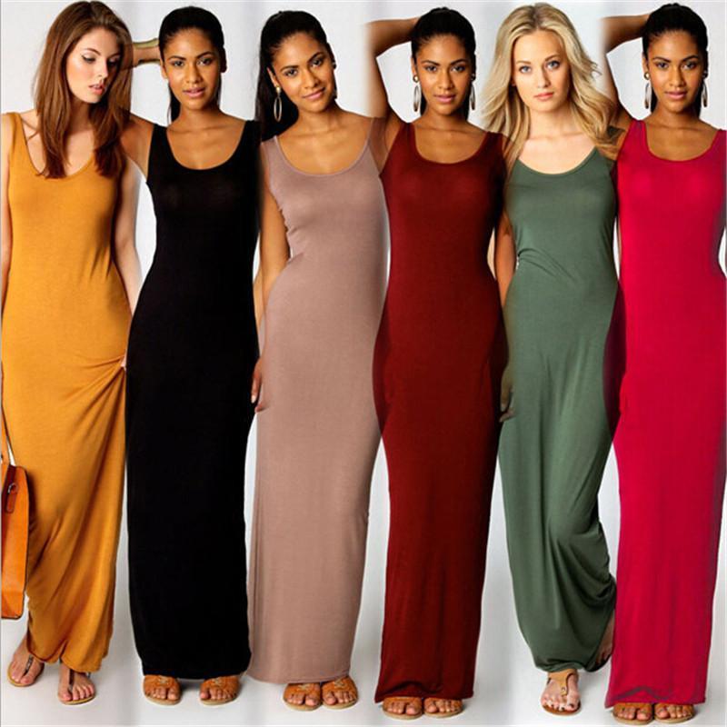 Doyerl Yaz Seksi Kadınlar Uzun Elbise Ince Tank Elbise Katı Yuvarlak Boyun Kolsuz Ayak Bileği Uzunluğu Rahat Temel Maxi Bayanlar için