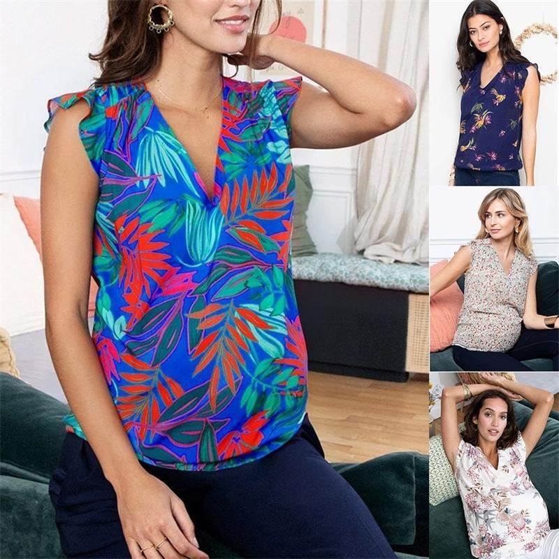 Maternidad sin mangas floral estampado de verano camisa volantes elegante casual enfermera superior mujeres embarazadas ropa camiseta femenina
