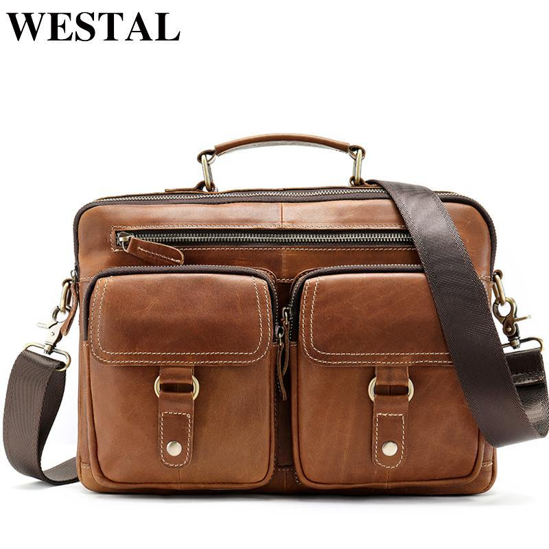 Westal Herren Männer echte Messenger Laptoptaschen Ledertasche Aktentaschen 13 '' Leder Männer Taschen Arbeit 8622 für Mann Büro Sheuo