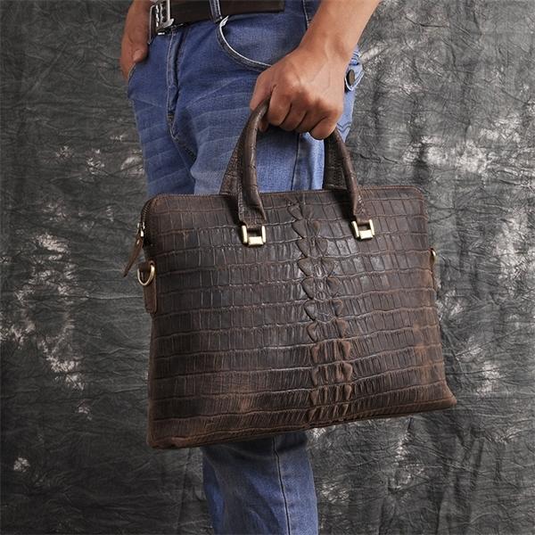 """Men Crazy Horse Leather Office Maletas Business Briefcase 15.6"""" Laptop Case Attache Portfolio Maletin Messenger Bag 7241-d Q1104"""