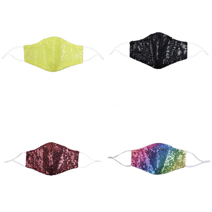 Moda lentejuelas color de la personalidad diseñador de la máscara de la máscara a prueba de polvo de colores impresos algodón Máscara reutilizable # 979