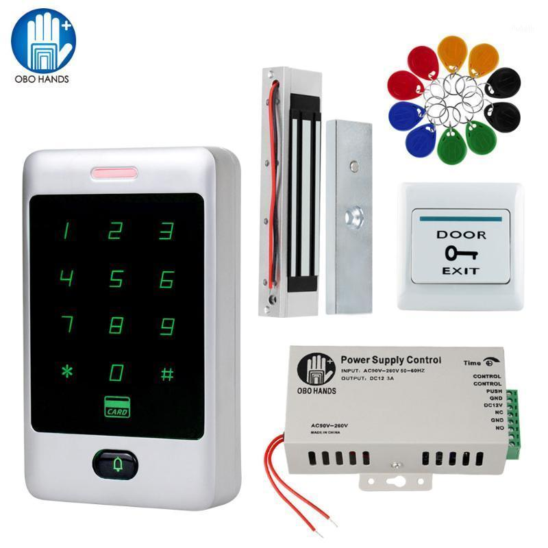 Комплект системы управления доступом в дверях Комплект RFID Клавиатура Водонепроницаемая крышка Дождевредие + Источник питания + электронные электромагнитные забастовки1
