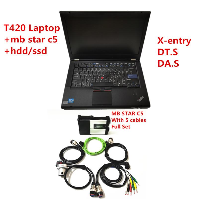 MB Star SD Connect C5 with newest soft-ware 2020.09 diagnostic tool mb star c5 ve-dia.mo/X-ENTRY/DT.S with T420 Laptop